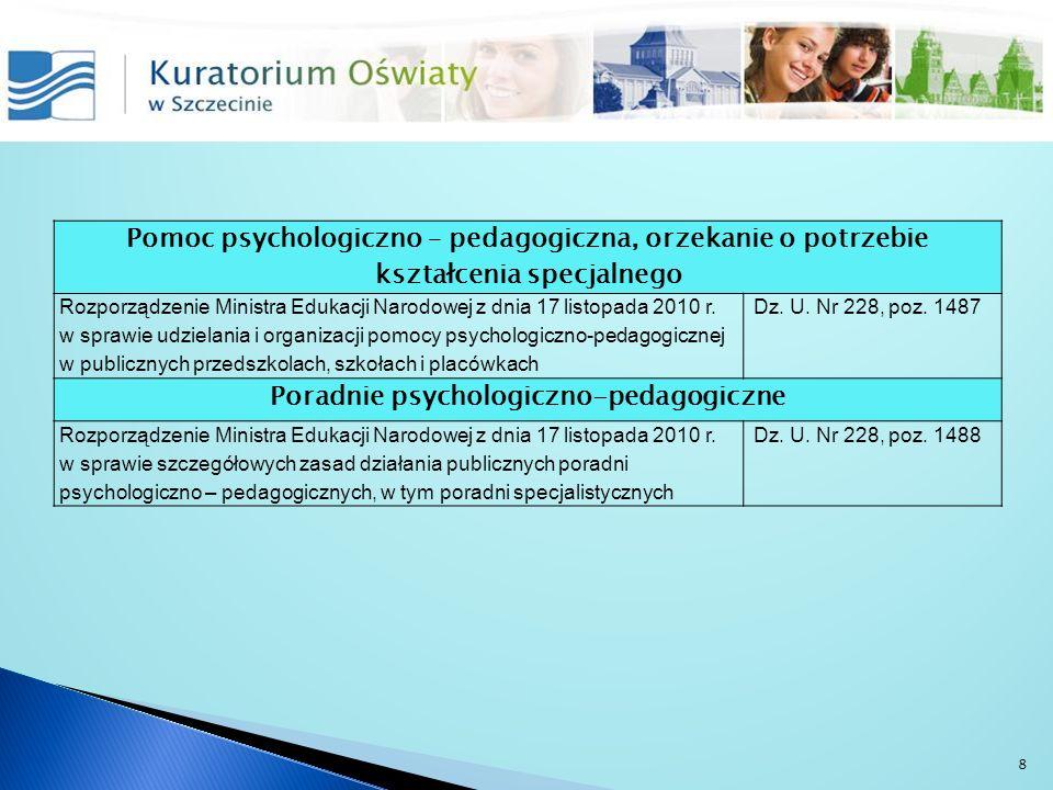 Pomoc psychologiczno – pedagogiczna, orzekanie o potrzebie kształcenia specjalnego Rozporządzenie Ministra Edukacji Narodowej z dnia 17 listopada 2010