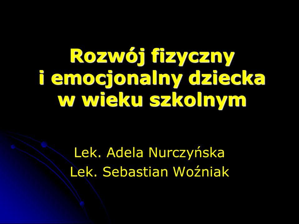 Rozwój fizyczny i emocjonalny dziecka w wieku szkolnym Lek. Adela Nurczyńska Lek. Sebastian Woźniak