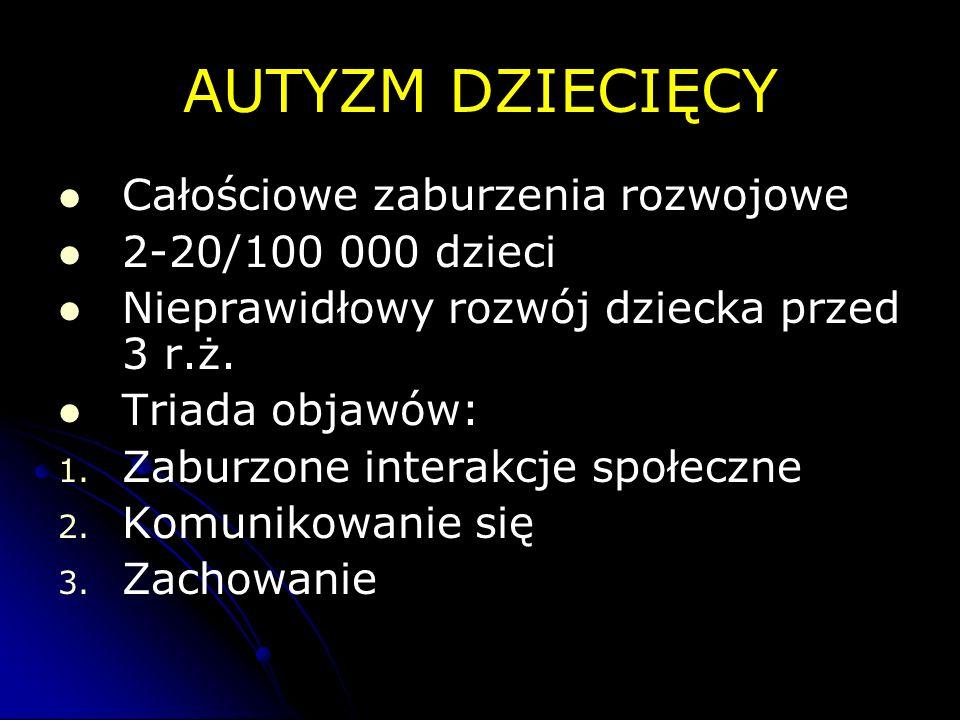 AUTYZM DZIECIĘCY Całościowe zaburzenia rozwojowe 2-20/100 000 dzieci Nieprawidłowy rozwój dziecka przed 3 r.ż. Triada objawów: 1. 1. Zaburzone interak