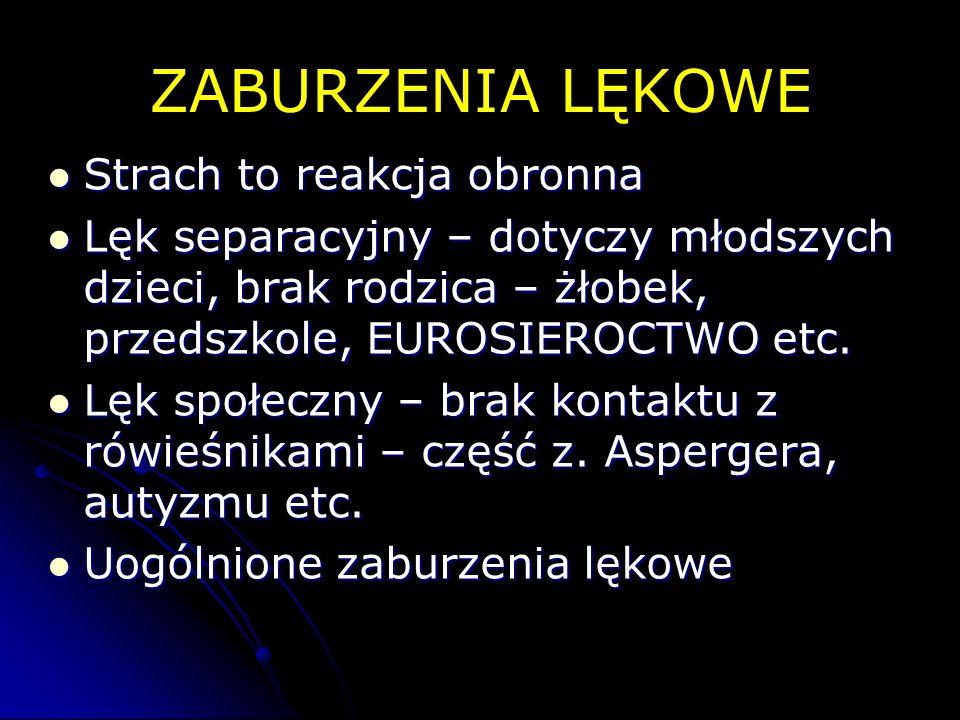ZABURZENIA LĘKOWE Strach to reakcja obronna Strach to reakcja obronna Lęk separacyjny – dotyczy młodszych dzieci, brak rodzica – żłobek, przedszkole,