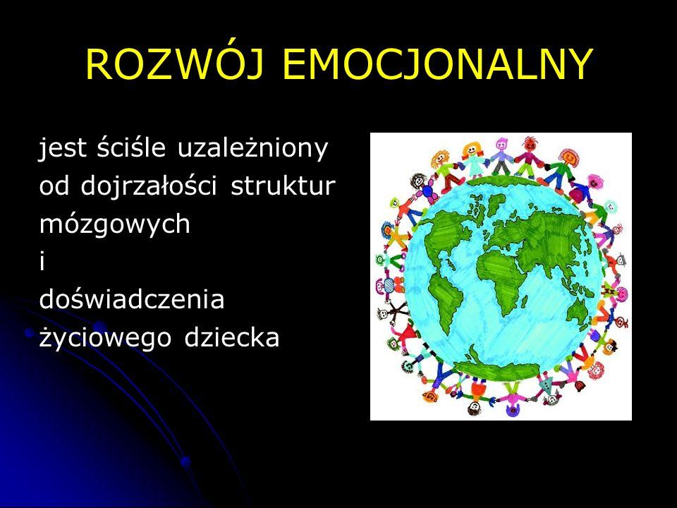 ROZWÓJ EMOCJONALNY jest ściśle uzależniony od dojrzałości struktur mózgowych i doświadczenia życiowego dziecka