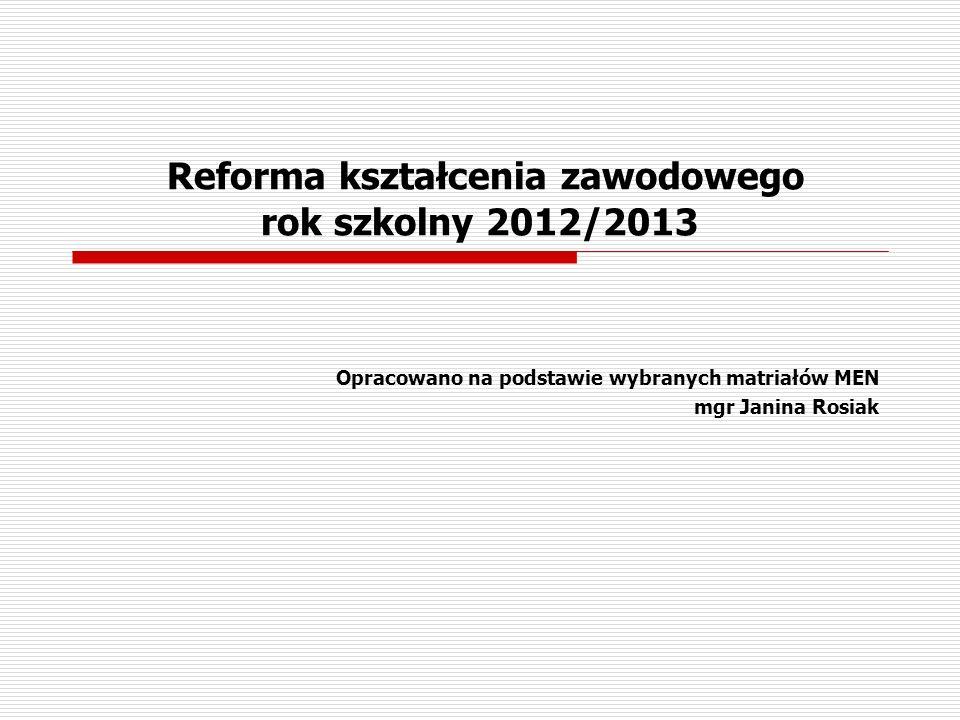 Reforma kształcenia zawodowego rok szkolny 2012/2013 Opracowano na podstawie wybranych matriałów MEN mgr Janina Rosiak