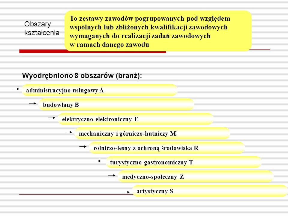 Obszary kształcenia Wyodrębniono 8 obszarów (branż): administracyjno usługowy A elektryczno-elektroniczny E budowlany B mechaniczny i górniczo-hutnicz