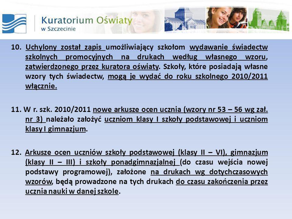Rozporządzenie Ministra Edukacji Narodowej z dnia 31 sierpnia 2010 r.