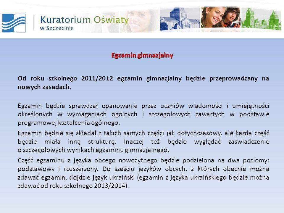 Egzamin gimnazjalny Część humanistyczna składa się z zadań z zakresu języka polskiego oraz zadań z zakresu historii i wiedzy o społeczeństwie.