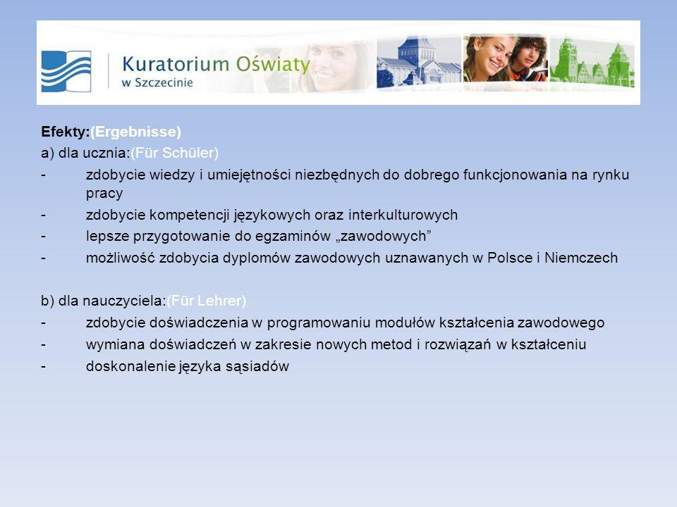 Efekty:(Ergebnisse) a) dla ucznia:(Für Schüler) -zdobycie wiedzy i umiejętności niezbędnych do dobrego funkcjonowania na rynku pracy -zdobycie kompete