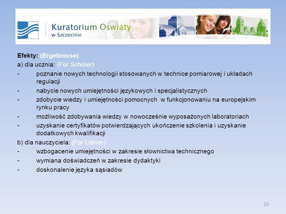Efekty: (Ergebnisse) a) dla ucznia: (Für Schüler) -poznanie nowych technologii stosowanych w technice pomiarowej i układach regulacji -nabycie nowych