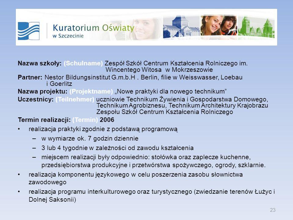 Nazwa szkoły: (Schulname) Zespół Szkół Centrum Kształcenia Rolniczego im. Wincentego Witosa w Mokrzeszowie Partner: Nestor Bildungsinstitut G.m.b.H. B