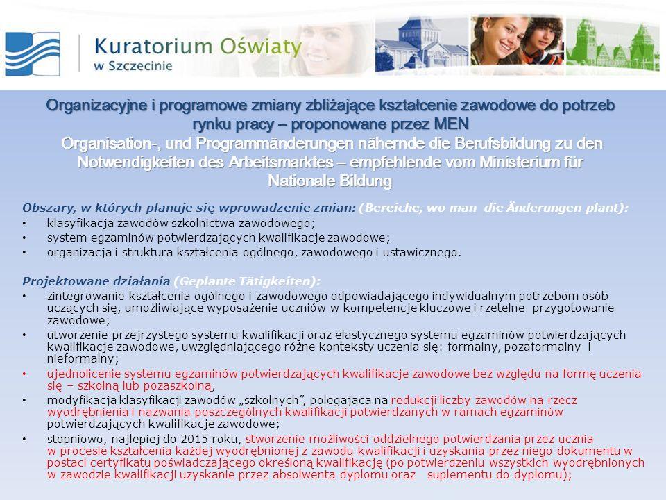 Organizacyjne i programowe zmiany zbliżające kształcenie zawodowe do potrzeb rynku pracy – proponowane przez MEN Organisation-, und Programmänderungen