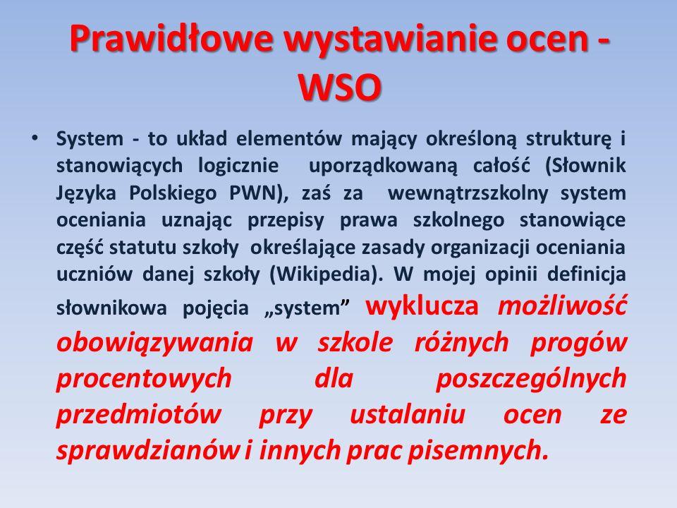 Prawidłowe wystawianie ocen - WSO System - to układ elementów mający określoną strukturę i stanowiących logicznie uporządkowaną całość (Słownik Języka