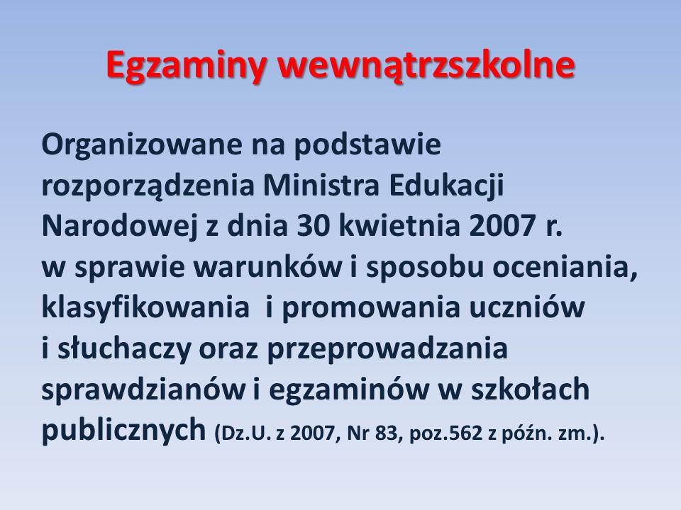Egzaminy wewnątrzszkolne Organizowane na podstawie rozporządzenia Ministra Edukacji Narodowej z dnia 30 kwietnia 2007 r. w sprawie warunków i sposobu