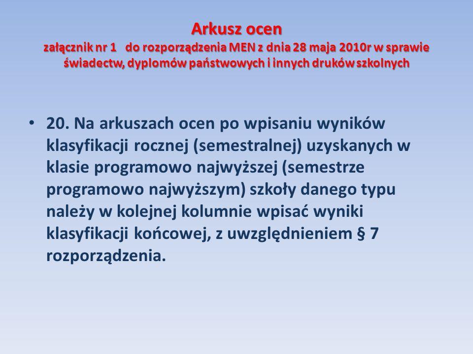 Arkusz ocen załącznik nr 1 do rozporządzenia MEN z dnia 28 maja 2010r w sprawie świadectw, dyplomów państwowych i innych druków szkolnych 20. Na arkus