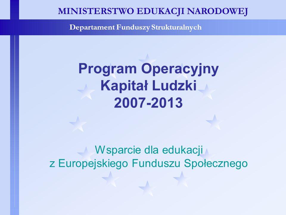 MINISTERSTWO EDUKACJI NARODOWEJ Departament Funduszy Strukturalnych Program Operacyjny Kapitał Ludzki 2007-2013 Wsparcie dla edukacji z Europejskiego