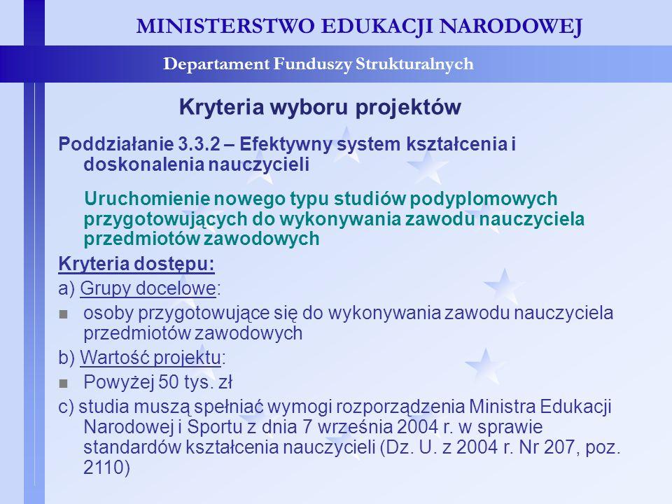 MINISTERSTWO EDUKACJI NARODOWEJ Departament Funduszy Strukturalnych Kryteria wyboru projektów Poddziałanie 3.3.2 – Efektywny system kształcenia i dosk