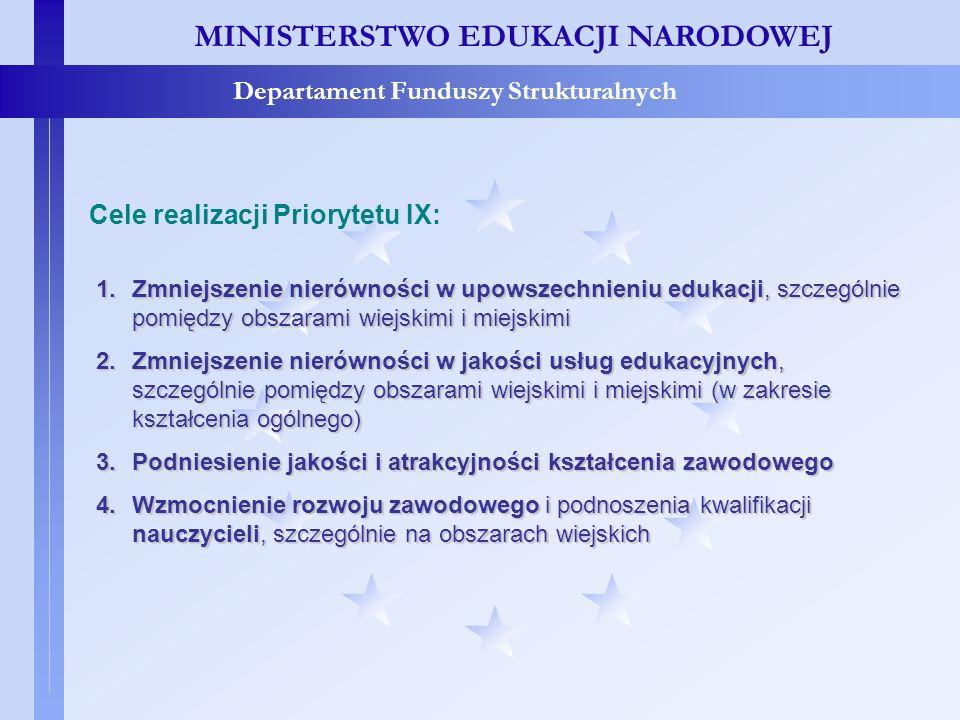 MINISTERSTWO EDUKACJI NARODOWEJ Departament Funduszy Strukturalnych Priorytet IX - cele MINISTERSTWO EDUKACJI NARODOWEJ Departament Funduszy Struktura