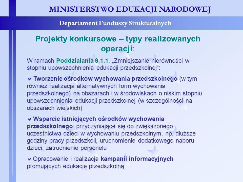 MINISTERSTWO EDUKACJI NARODOWEJ Departament Funduszy Strukturalnych Projekty konkursowe – typy realizowanych operacji MINISTERSTWO EDUKACJI NARODOWEJ