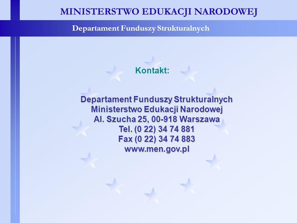MINISTERSTWO EDUKACJI NARODOWEJ Departament Funduszy Strukturalnych Ministerstwo Edukacji Narodowej Al. Szucha 25, 00-918 Warszawa Tel. (0 22) 34 74 8