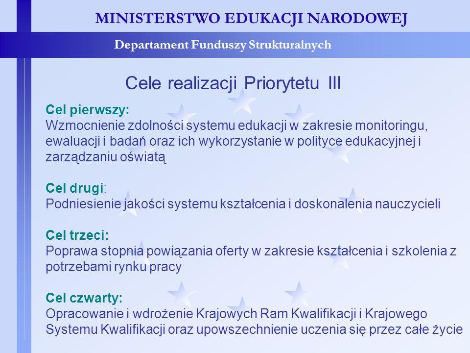 MINISTERSTWO EDUKACJI NARODOWEJ Departament Funduszy Strukturalnych Cele realizacji Priorytetu III Cel pierwszy: Wzmocnienie zdolności systemu edukacj