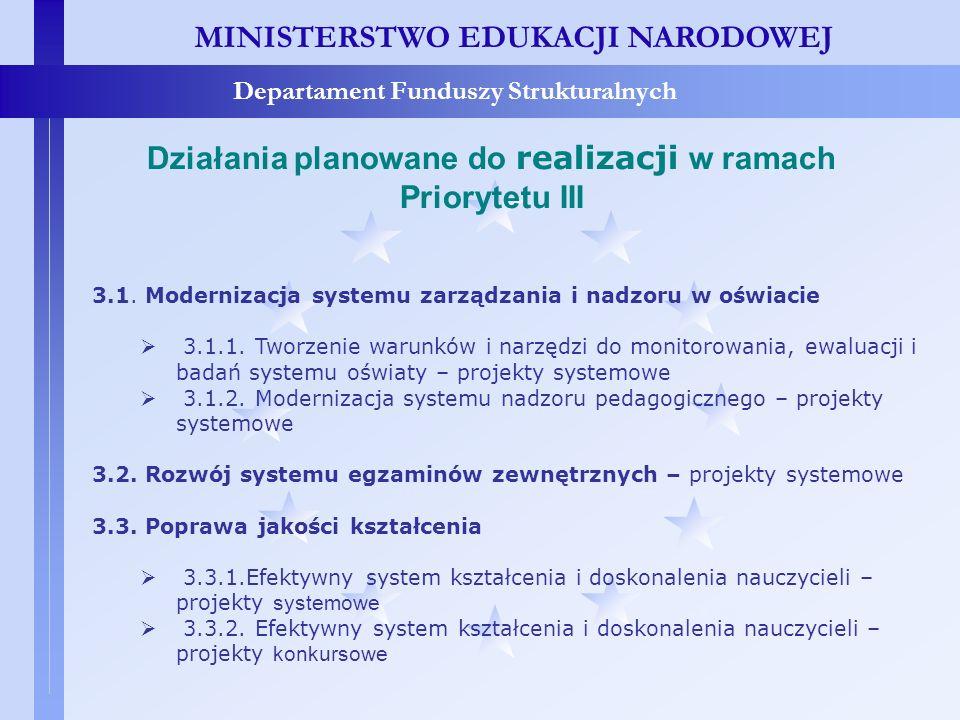 MINISTERSTWO EDUKACJI NARODOWEJ Departament Funduszy Strukturalnych Działania planowane do realizacji w ramach Priorytetu III 3.1. Modernizacja system