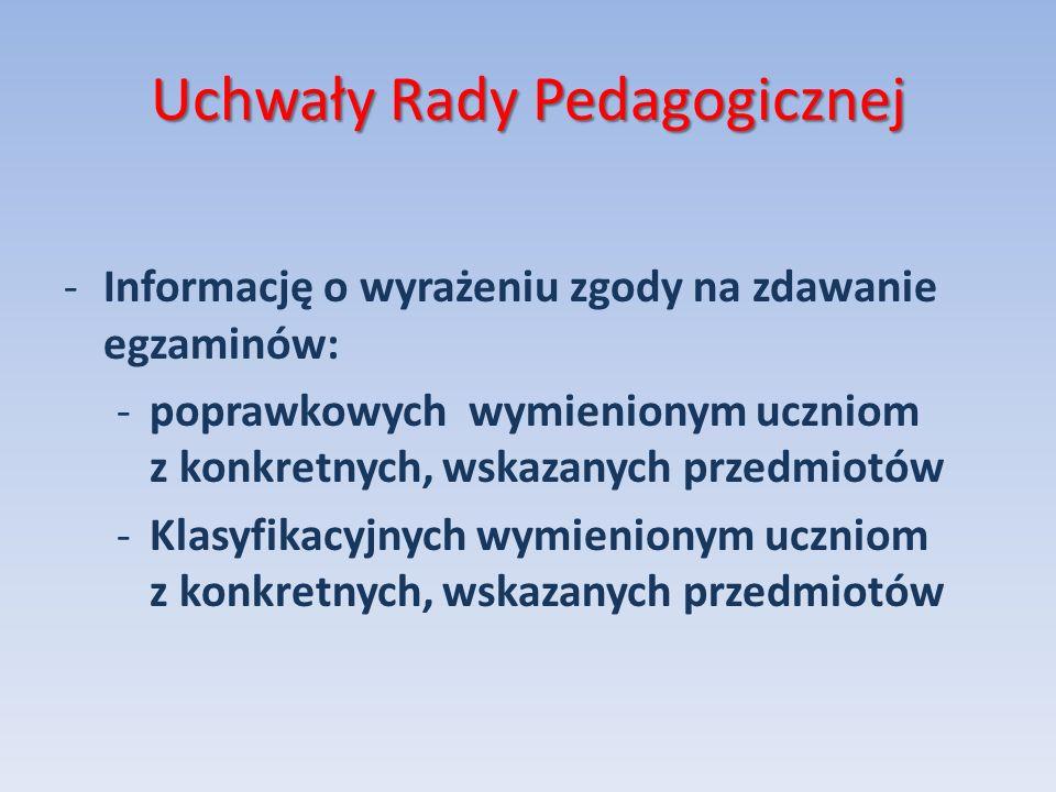Uchwały Rady Pedagogicznej -Informację o wyrażeniu zgody na zdawanie egzaminów: -poprawkowych wymienionym uczniom z konkretnych, wskazanych przedmiotó