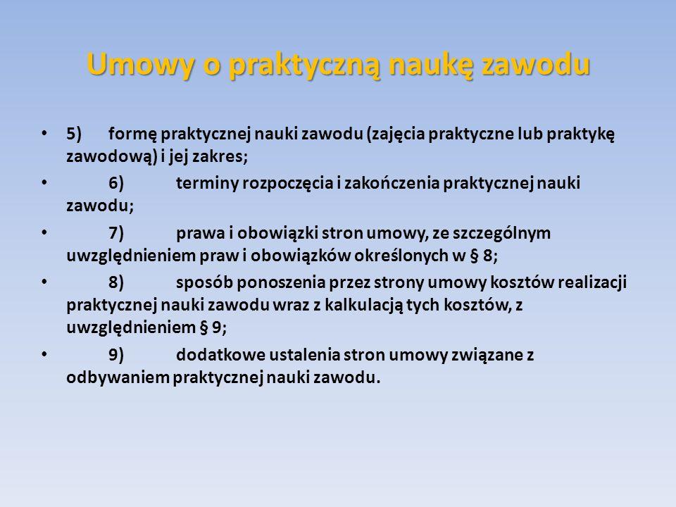 Umowy o praktyczną naukę zawodu 5)formę praktycznej nauki zawodu (zajęcia praktyczne lub praktykę zawodową) i jej zakres; 6)terminy rozpoczęcia i zako