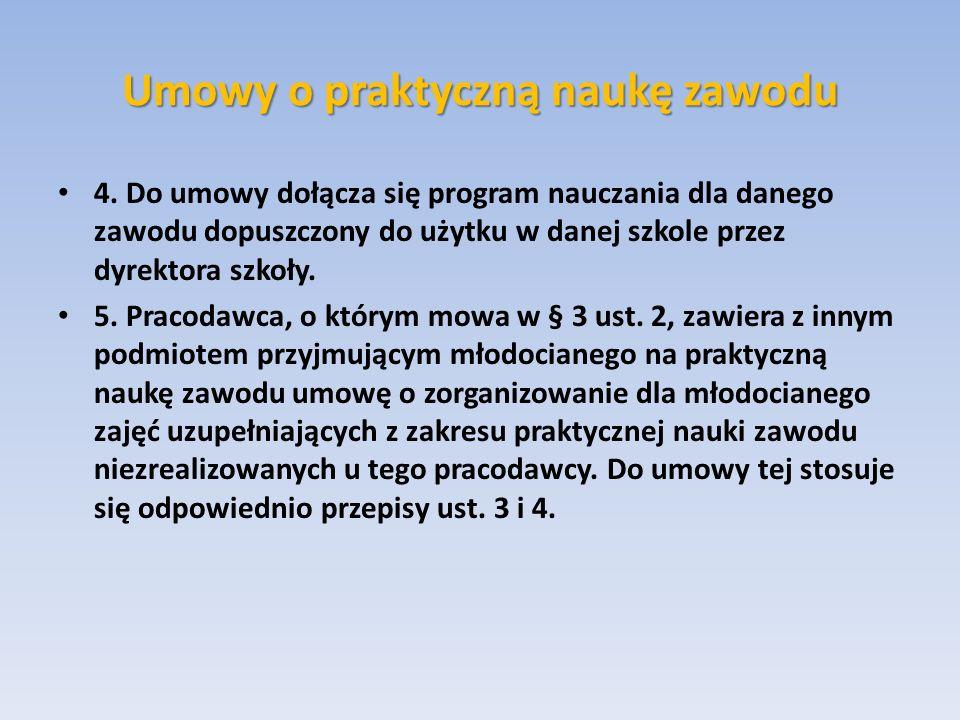 Umowy o praktyczną naukę zawodu 4. Do umowy dołącza się program nauczania dla danego zawodu dopuszczony do użytku w danej szkole przez dyrektora szkoł