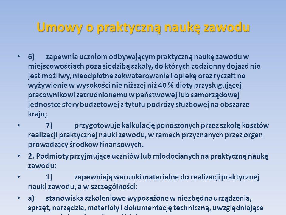 Umowy o praktyczną naukę zawodu 6)zapewnia uczniom odbywającym praktyczną naukę zawodu w miejscowościach poza siedzibą szkoły, do których codzienny do