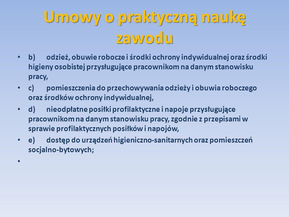 Umowy o praktyczną naukę zawodu b)odzież, obuwie robocze i środki ochrony indywidualnej oraz środki higieny osobistej przysługujące pracownikom na dan
