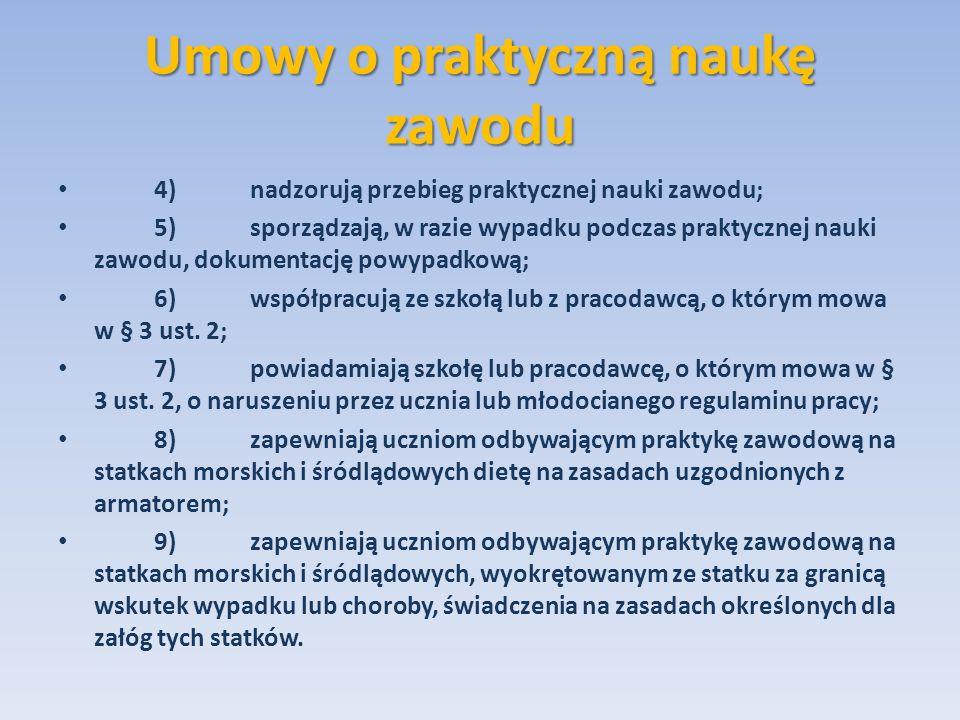 Umowy o praktyczną naukę zawodu 4)nadzorują przebieg praktycznej nauki zawodu; 5)sporządzają, w razie wypadku podczas praktycznej nauki zawodu, dokume