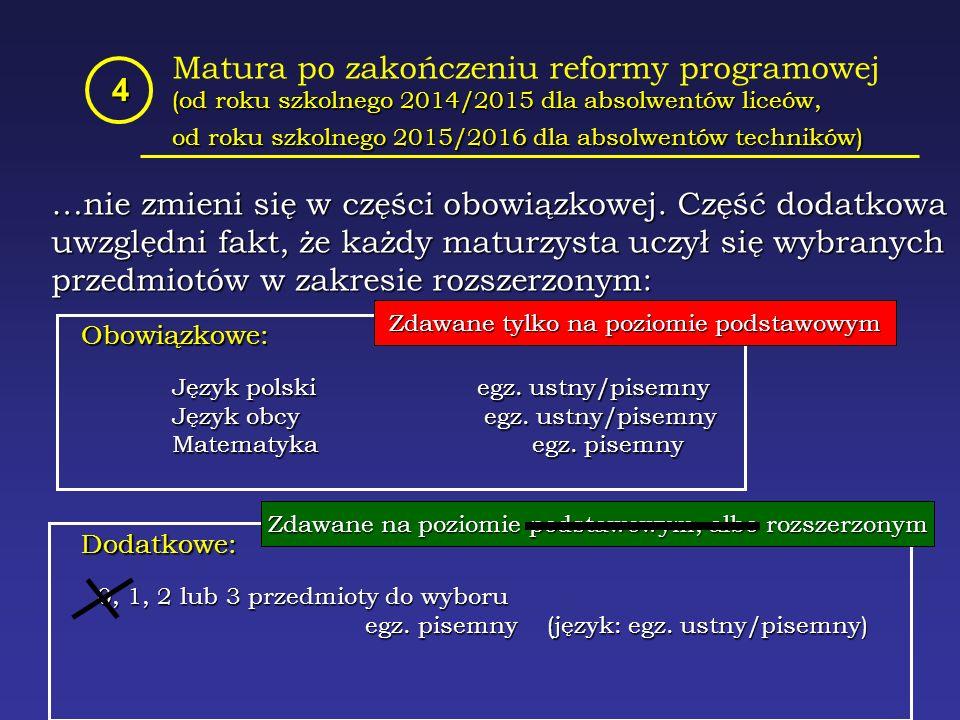 Matura po zakończeniu reformy programowej (od roku szkolnego 2014/2015 dla absolwentów liceów, od roku szkolnego 2015/2016 dla absolwentów techników) 4 …nie zmieni się w części obowiązkowej.