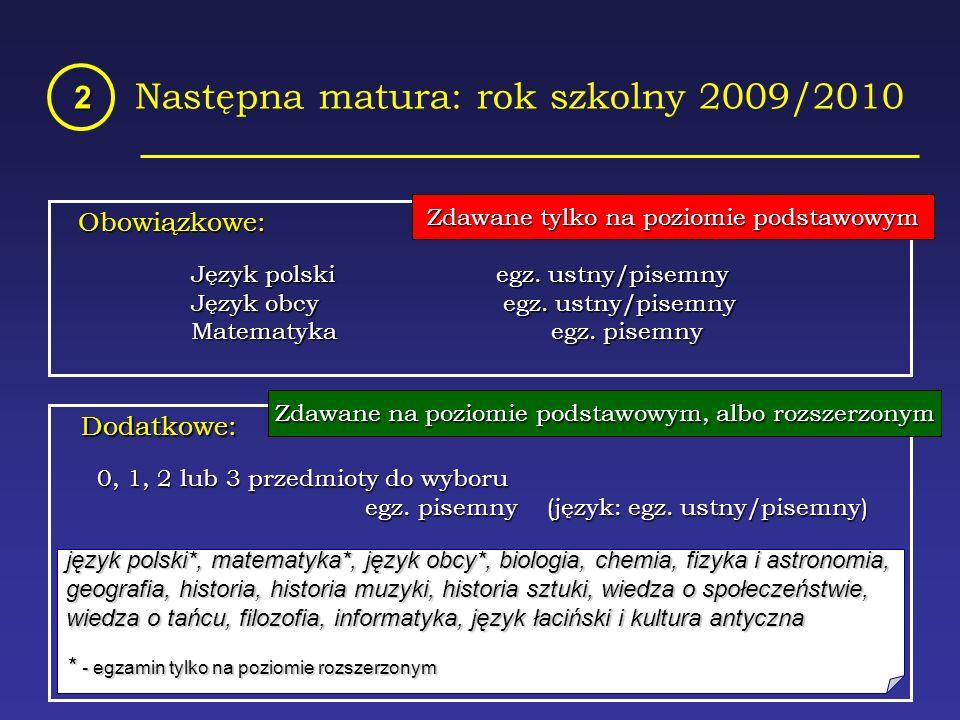 Następna matura: rok szkolny 2009/2010 2 Obowiązkowe: Język polski egz.