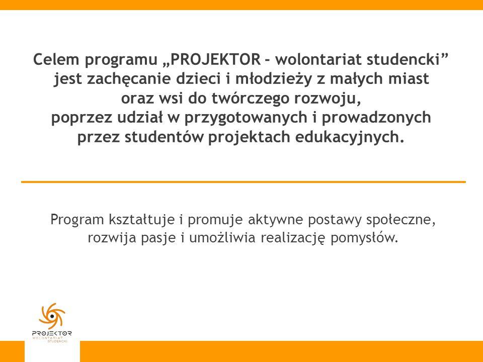Celem programu PROJEKTOR - wolontariat studencki jest zachęcanie dzieci i młodzieży z małych miast oraz wsi do twórczego rozwoju, poprzez udział w prz