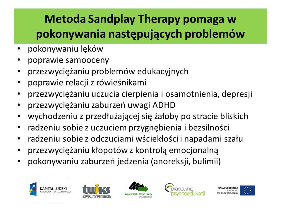 Metoda Sandplay Therapy pomaga w pokonywania następujących problemów pokonywaniu lęków poprawie samooceny przezwyciężaniu problemów edukacyjnych popra