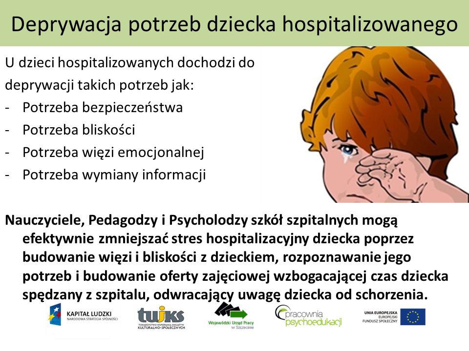Deprywacja potrzeb dziecka hospitalizowanego U dzieci hospitalizowanych dochodzi do deprywacji takich potrzeb jak: -Potrzeba bezpieczeństwa -Potrzeba