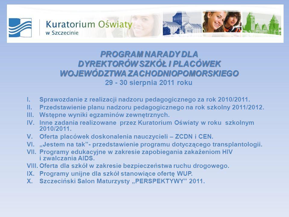 PROGRAM NARADY DLA DYREKTORÓW SZKÓŁ I PLACÓWEK WOJEWÓDZTWA ZACHODNIOPOMORSKIEGO 29 - 30 sierpnia 2011 roku I.Sprawozdanie z realizacji nadzoru pedagogicznego za rok 2010/2011.
