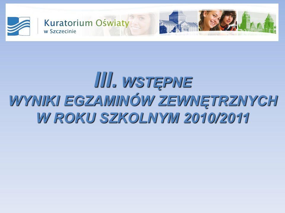 III. WSTĘPNE WYNIKI EGZAMINÓW ZEWNĘTRZNYCH W ROKU SZKOLNYM 2010/2011