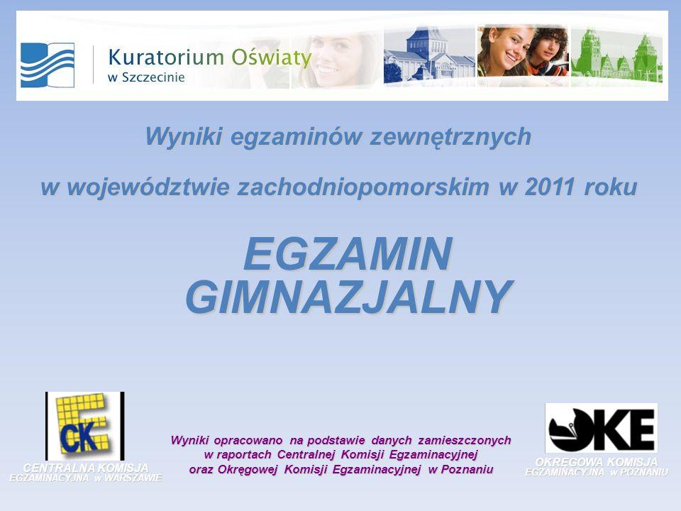 OKRĘGOWA KOMISJA EGZAMINACYJNA w POZNANIU CENTRALNA KOMISJA EGZAMINACYJNA w WARSZAWIE Wyniki opracowano na podstawie danych zamieszczonych w raportach Centralnej Komisji Egzaminacyjnej oraz Okręgowej Komisji Egzaminacyjnej w Poznaniu EGZAMIN GIMNAZJALNY Wyniki egzaminów zewnętrznych w województwie zachodniopomorskim w 2011 roku
