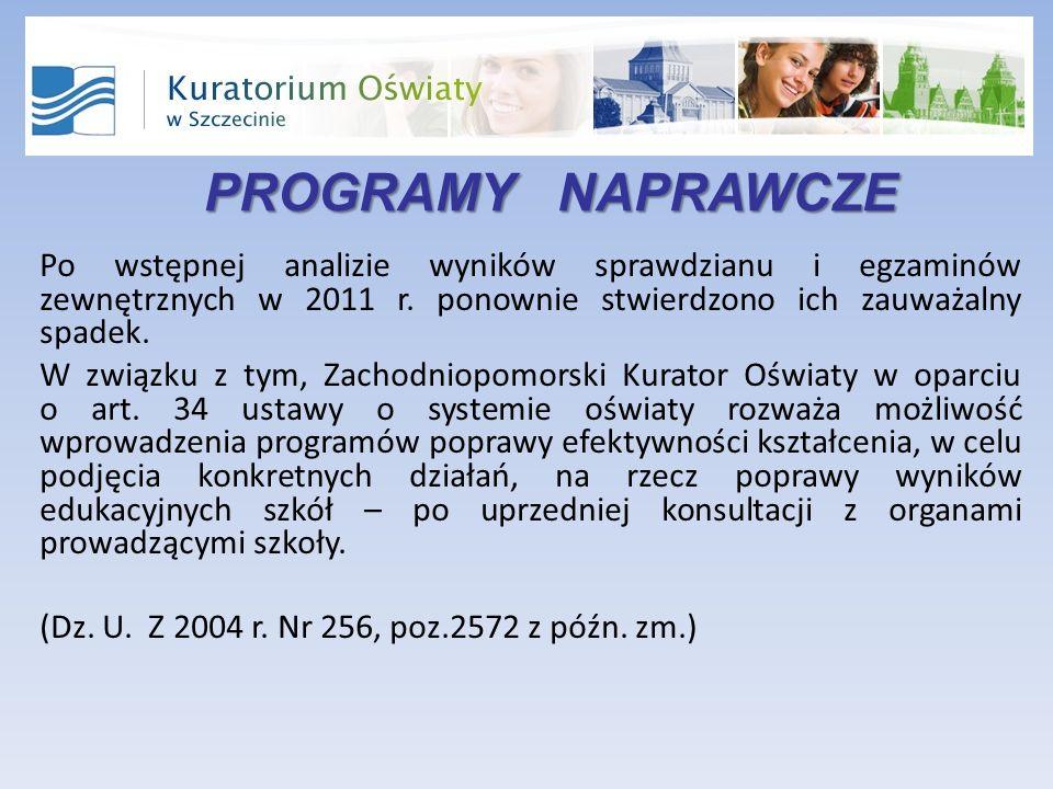 PROGRAMY NAPRAWCZE Po wstępnej analizie wyników sprawdzianu i egzaminów zewnętrznych w 2011 r.