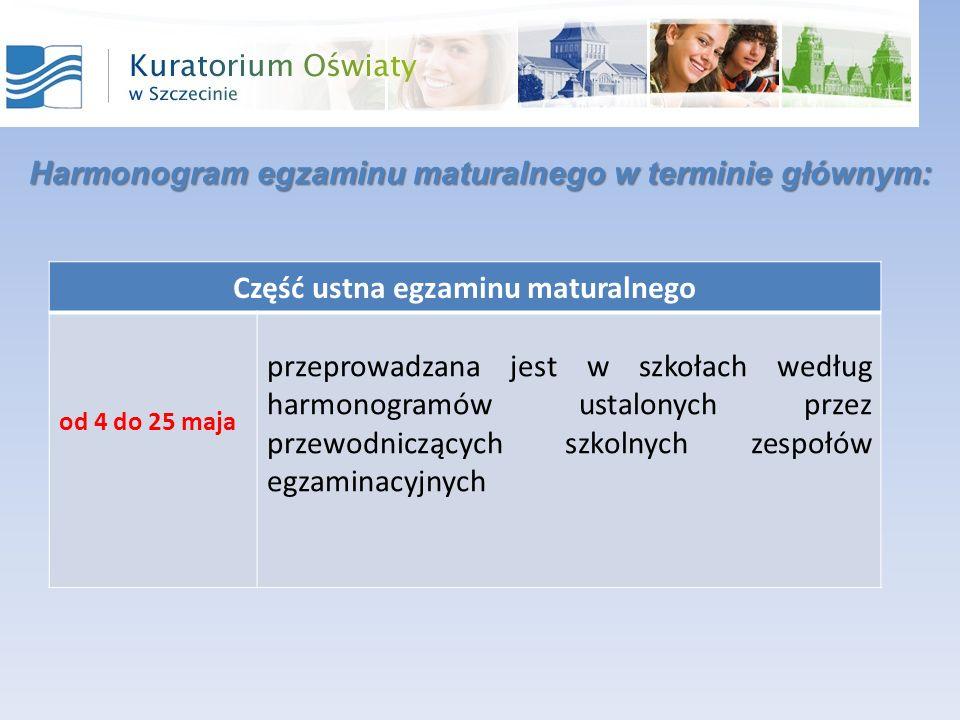Harmonogram egzaminu maturalnego w terminie głównym: Część ustna egzaminu maturalnego od 4 do 25 maja przeprowadzana jest w szkołach według harmonogramów ustalonych przez przewodniczących szkolnych zespołów egzaminacyjnych