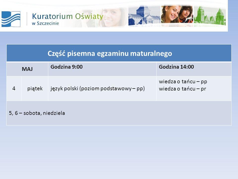 Część pisemna egzaminu maturalnego MAJ Godzina 9:00Godzina 14:00 4piątekjęzyk polski (poziom podstawowy – pp) wiedza o tańcu – pp wiedza o tańcu – pr 5, 6 – sobota, niedziela