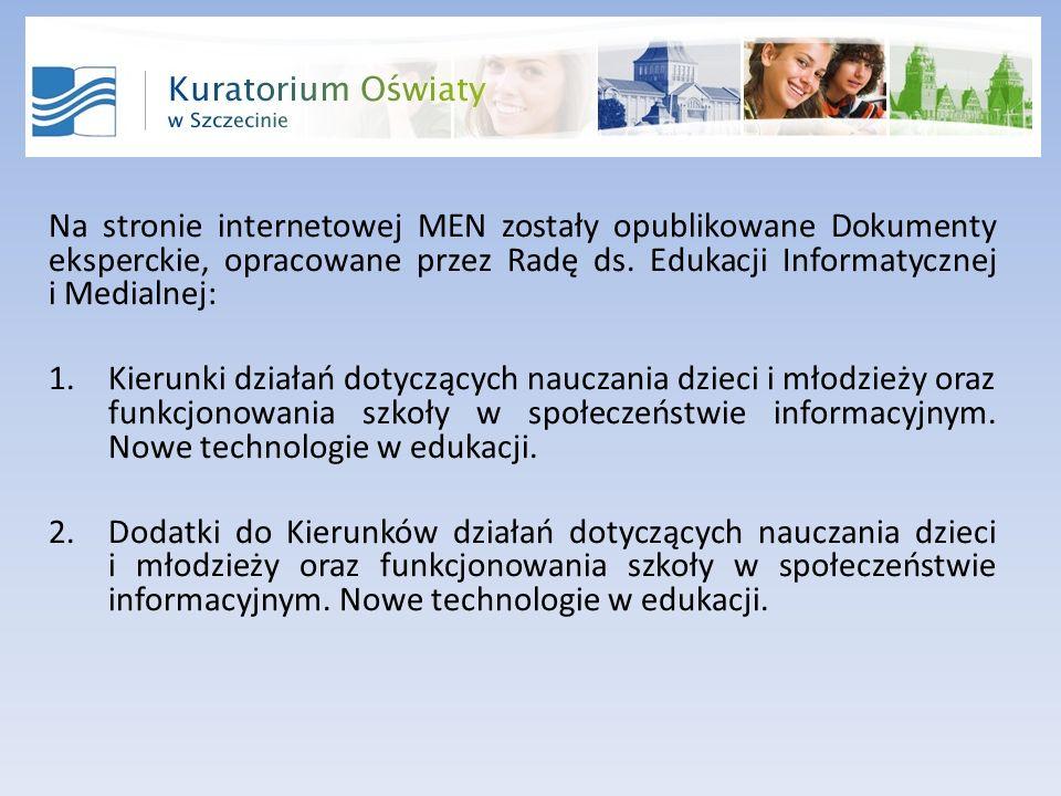 Na stronie internetowej MEN zostały opublikowane Dokumenty eksperckie, opracowane przez Radę ds.