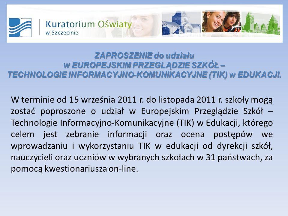 ZAPROSZENIE do udziału w EUROPEJSKIM PRZEGLĄDZIE SZKÓŁ – TECHNOLOGIE INFORMACYJNO-KOMUNIKACYJNE (TIK) w EDUKACJI.