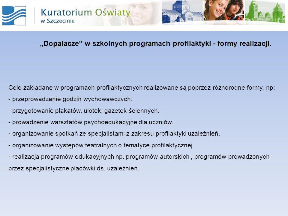 Dopalacze w szkolnych programach profilaktyki - formy realizacji. Cele zakładane w programach profilaktycznych realizowane są poprzez różnorodne formy