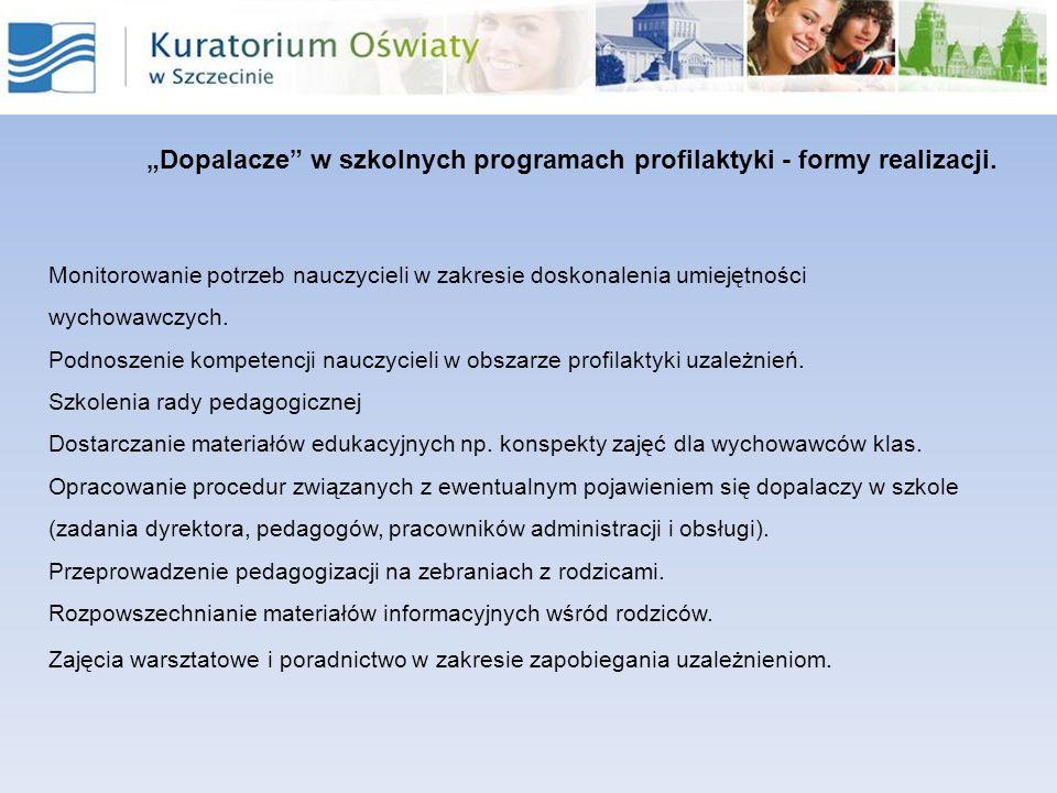 Dopalacze w szkolnych programach profilaktyki - formy realizacji. Monitorowanie potrzeb nauczycieli w zakresie doskonalenia umiejętności wychowawczych