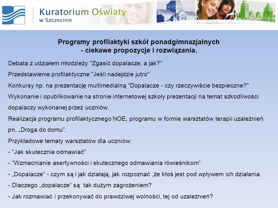 Programy profilaktyki szkół ponadgimnazjalnych - ciekawe propozycje i rozwiązania. Debata z udziałem młodzieży