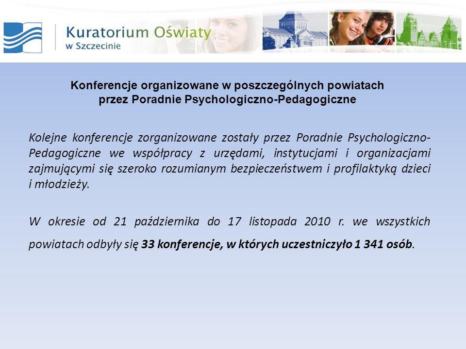 Kolejne konferencje zorganizowane zostały przez Poradnie Psychologiczno- Pedagogiczne we współpracy z urzędami, instytucjami i organizacjami zajmujący