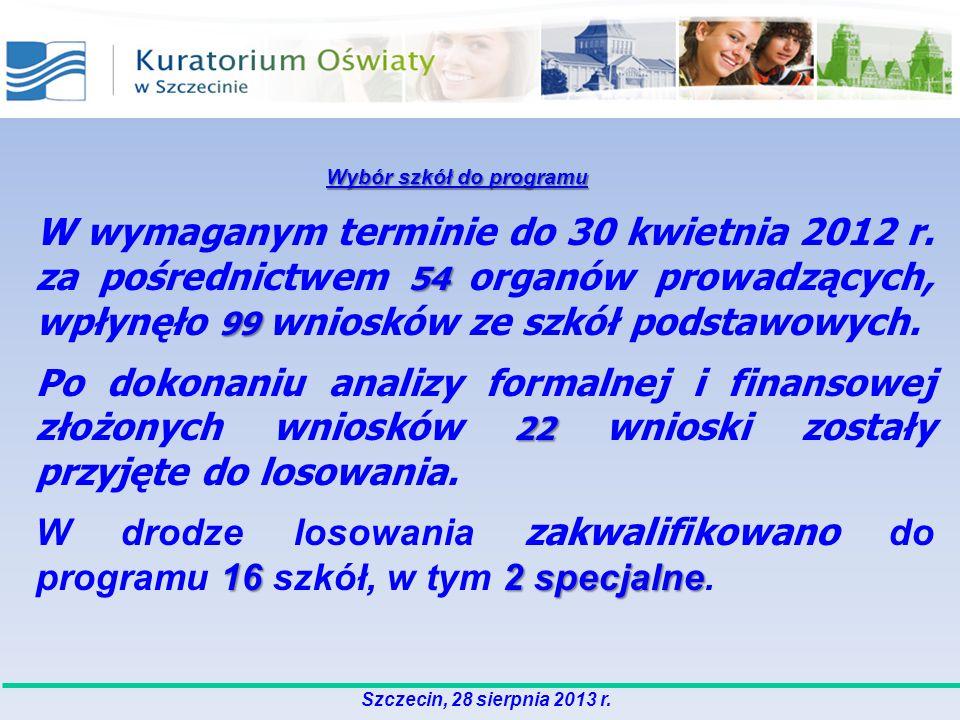 54 99 W wymaganym terminie do 30 kwietnia 2012 r. za pośrednictwem 54 organów prowadzących, wpłynęło 99 wniosków ze szkół podstawowych. 22 Po dokonani