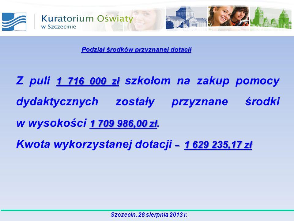 1 716 000 zł 1 709 986,00 zł Z puli 1 716 000 zł szkołom na zakup pomocy dydaktycznych zostały przyznane środki w wysokości 1 709 986,00 zł. – 1 629 2