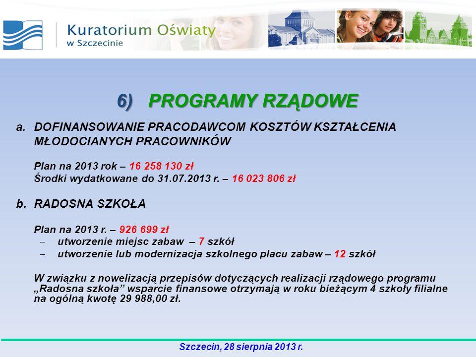 6) PROGRAMY RZĄDOWE a.DOFINANSOWANIE PRACODAWCOM KOSZTÓW KSZTAŁCENIA MŁODOCIANYCH PRACOWNIKÓW Plan na 2013 rok – 16 258 130 zł Środki wydatkowane do 31.07.2013 r.