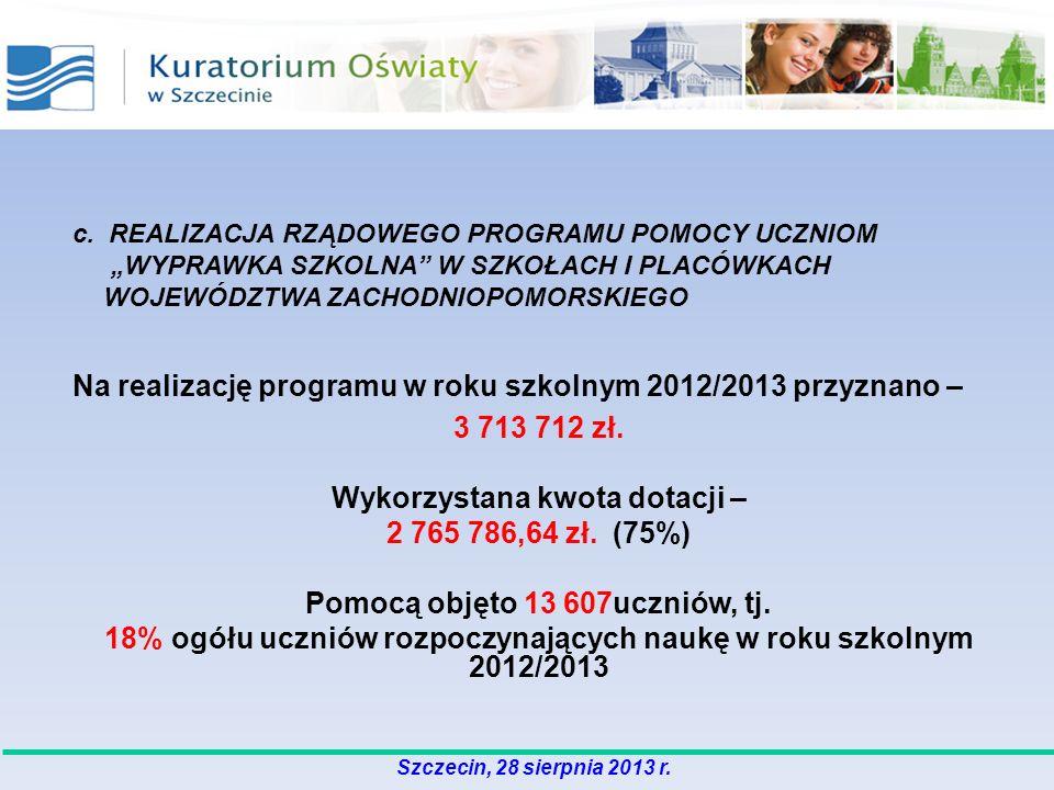 Na realizację programu w roku szkolnym 2012/2013 przyznano – 3 713 712 zł. Wykorzystana kwota dotacji – 2 765 786,64 zł. (75%) Pomocą objęto 13 607ucz